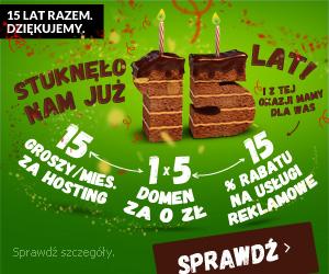 Super promocje na 15. urodziny Domena.pl
